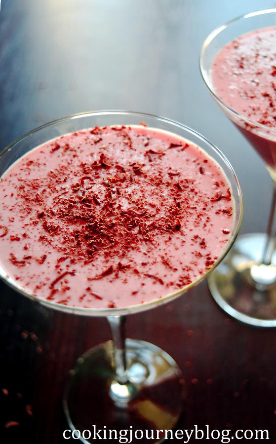Rhubarb strawberry mousse, served in martini glasses. Cooking Journey Blog. #strawberry #rhubarb #mousse #dessert