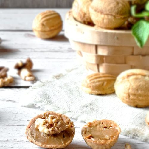 Walnut Shaped Cookies with caramelized condensed milk and walnuts