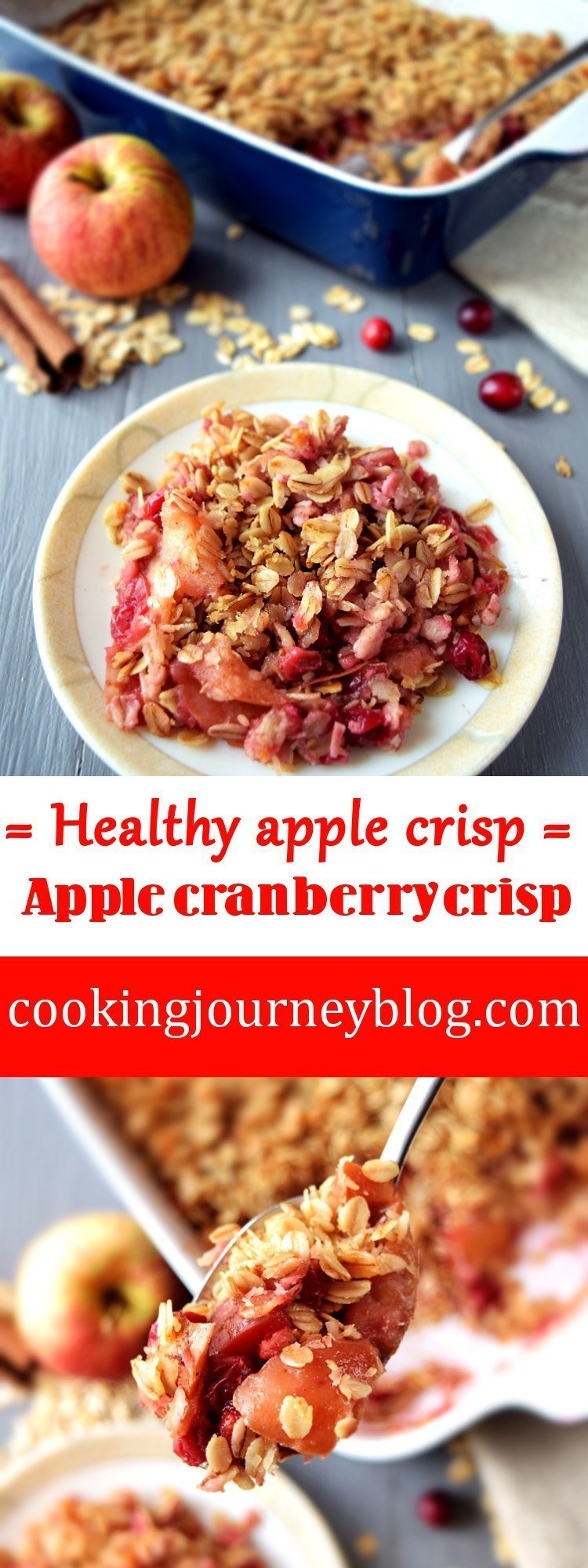 healthy apple crisp, apple cranberry crisp