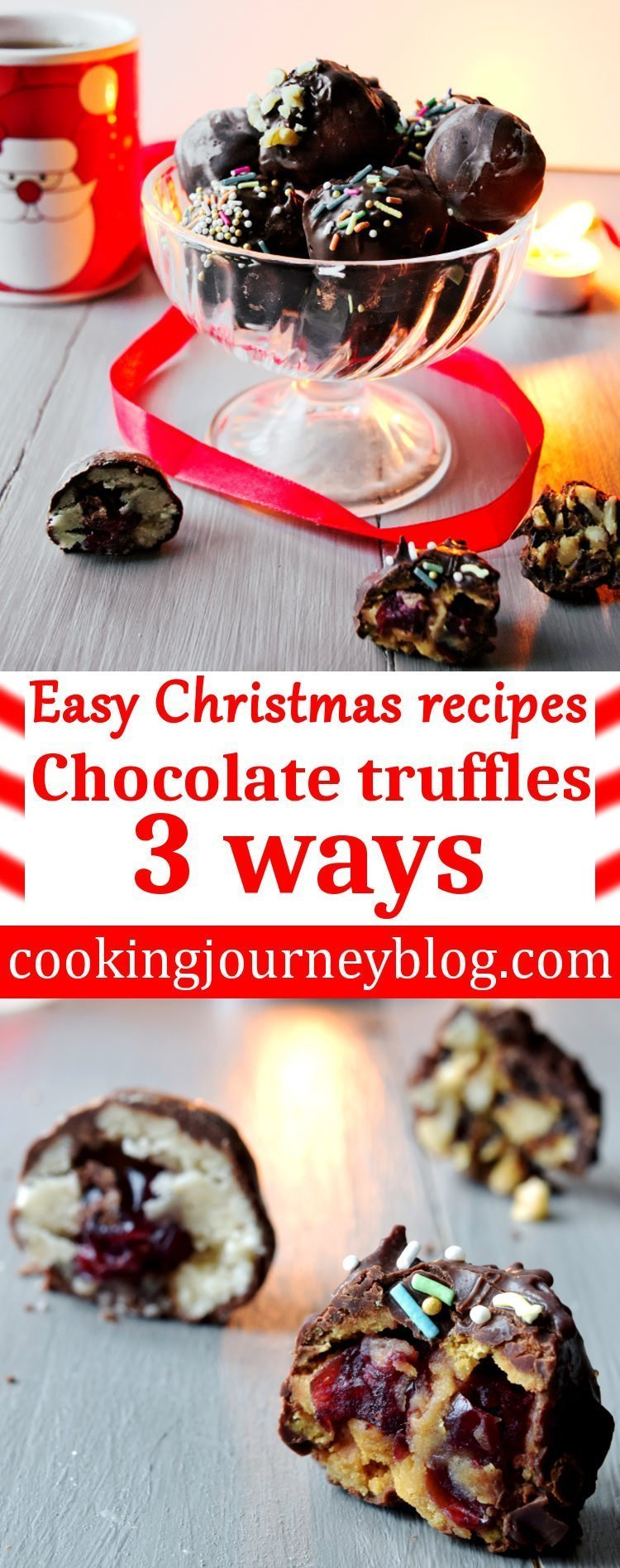 We have so much to do before Christmas, so these easy homemade truffles 3 ways will save your time, preparing your festive table or edible Christmas gifts! You will need only few ingredients, no baking and only 10 minutes to make these Christmas desserts! Truffles on the table, cut in half.