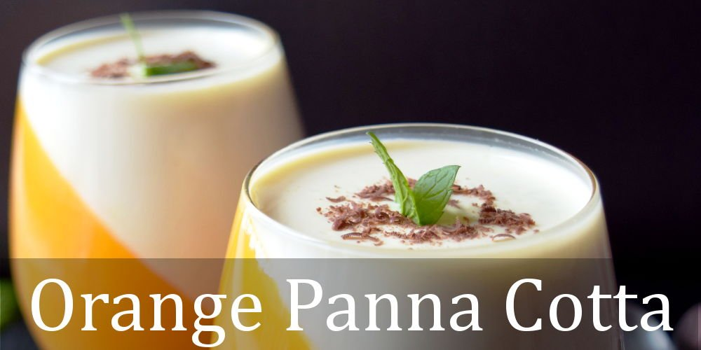 Orange panna cotta is creamy and fresh dessert, one of the Christmas dessert ideas you can make for your family. Easy no bake desserts that you will enjoy! Orange and white dessert, served with peppermint leaves and shredded chocolate. panna cotta orange sauce , easy orange panna cotta , best panna cotta recipe , orange panna cotta recipes , citrus panna cotta