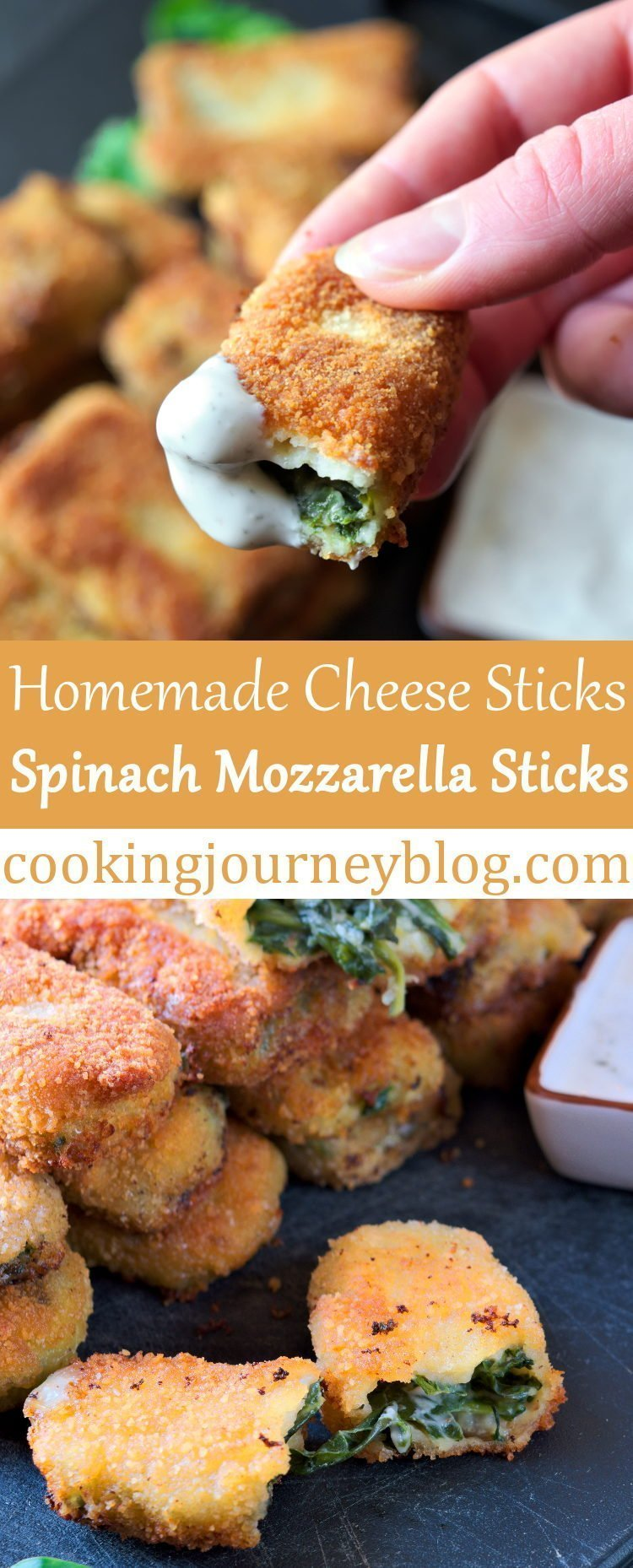 Spinach mozzarella sticks appetizers are perfect for party or watching sports game. Homemade cheese sticks are tasty, loaded with spinach and cheese. Grab this mozzarella sticks recipe for next party snack!