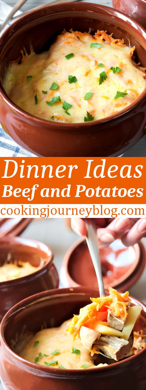 Yes to beef and potatoes for dinner! Simple, filling and delicious meal, baked in clay pot. You will have easy dinners with this idea. #cookingjourney #beef #dinner