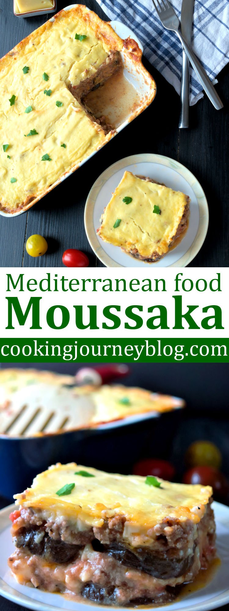 Eggplant moussaka is a great dish for dinner! Greek food recipes are always tasty and full of Mediterranean flavor. If you love lasagna and casseroles, this moussaka is definitely one of dinner ideas to try!