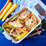 Baked chicken breast and roasted carrots