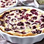 Cherry clafoutis in two individual ramekins