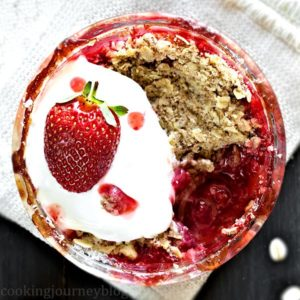 Strawberry rhubarb dessert, served with yogurt and strawberries. Desserts for two.