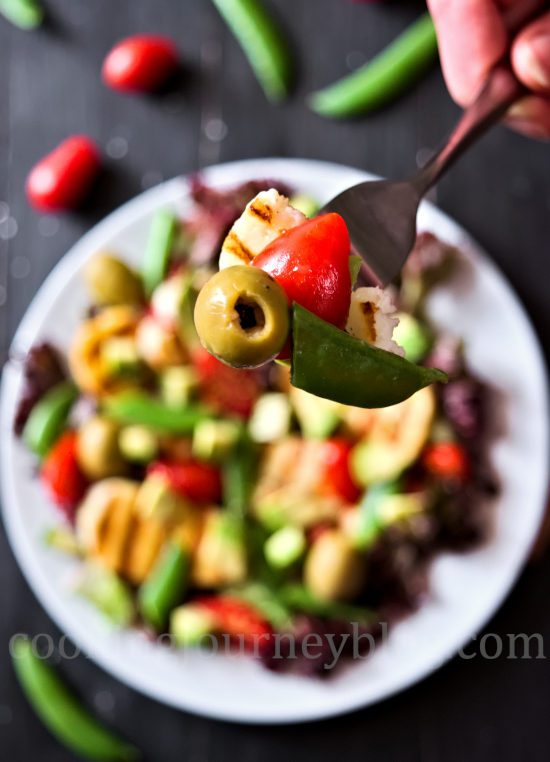 Grilled Halloumi and Avocado Salad, served on the fork