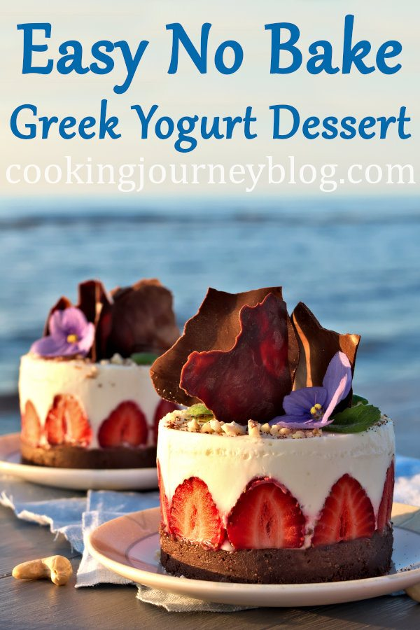 This beautiful no bake Greek yogurt dessert is a perfect summer treat! Surprise your family with mini chocolate yogurt cakes. These are elegant desserts, decorated with chocolate and strawberries. One of no bake recipes that you need to try for sure. #yogurt #chocolaterecipes #summervibes #cakedecorating #cookingjourney #strawberries #cream #fathersday
