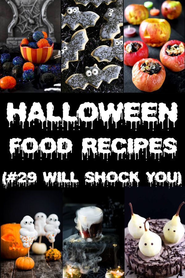 30+ Halloween Food Recipes and Drinks. You will discover new Halloween Ideas for Party or Family Dinner, more than 30 recipes from Appetizers to Desserts. #halloween #halloweenfood #spooky #halloweenrecipes