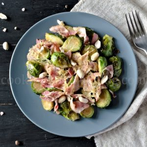 Brussels Sprouts with Bacon, cheese and nuts