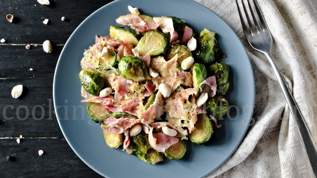 Brussels Sprouts with Bacon, served on a plate