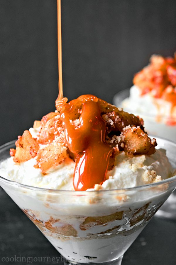 Pouring homemade caramel on apple trifle