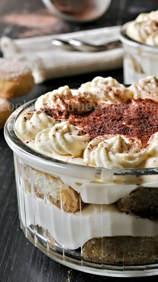 Easy tiramisu recipe, coffee dessert in individual ramekins with cocoa powder on top