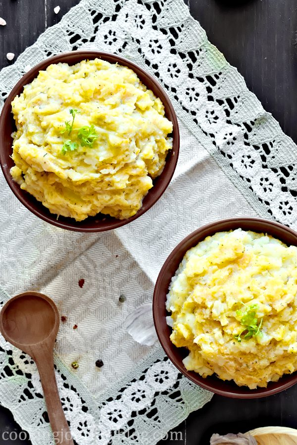 Mashed Turnips and Potatoes with wooden spoon