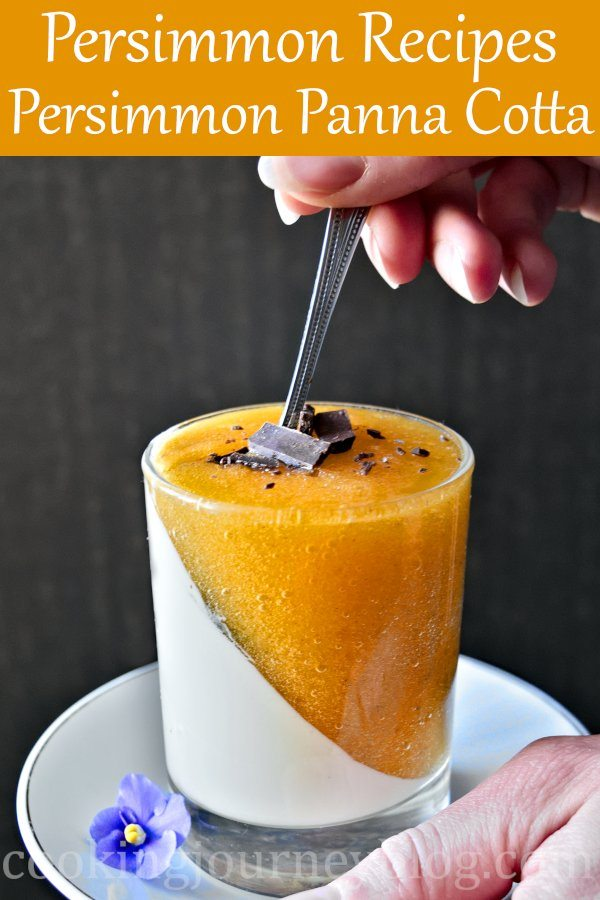 Persimmon panna cotta dessert is fun to make and will surprise your guests. This is an easy dessert with fruity orange color and a hint of rum essence. Lovely combination of persimmons and cream. Gluten free, vegetarian persimmon recipe to try! Moreover, it is more healthy than other persimmon desserts! #persimmon #pannacotta #easydesserts