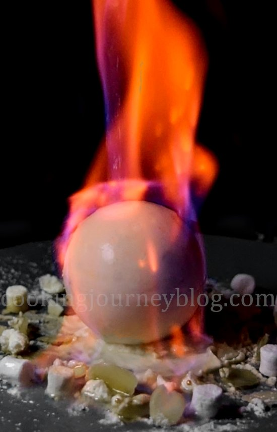 Flaming Chocolate Ball. Easy winter dessert, melting chocolate.
