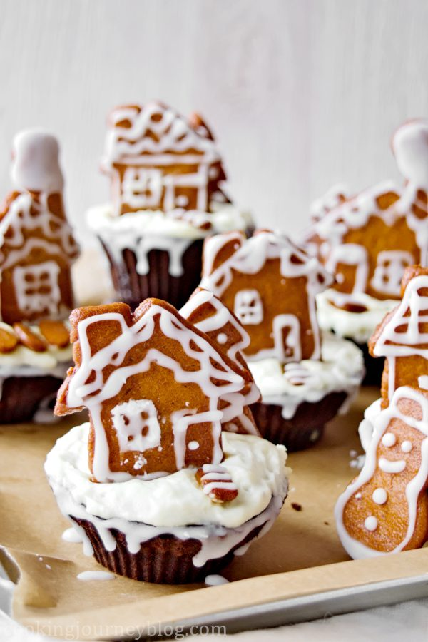 Chocolate Cupcake Recipe – Gingerbread Cupcakes with gingerbread town on a baking tray