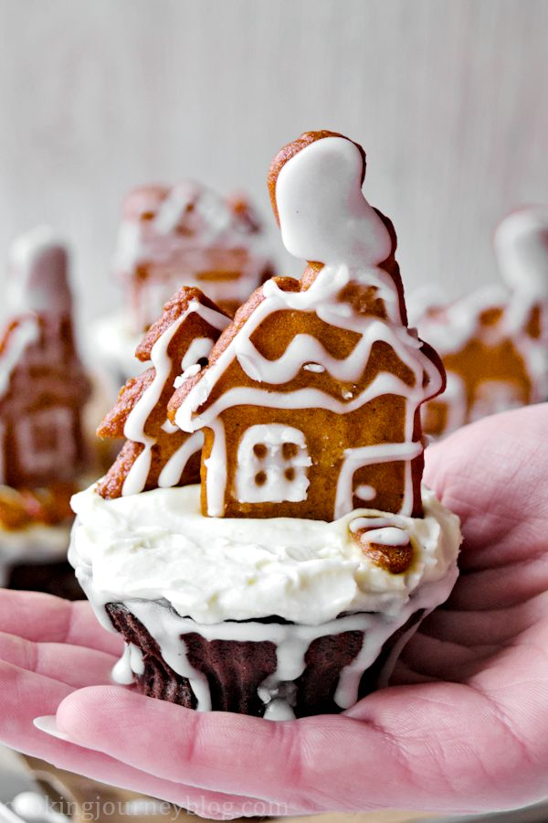 Holding Chocolate Cupcake - Gingerbread cupcake in a hand