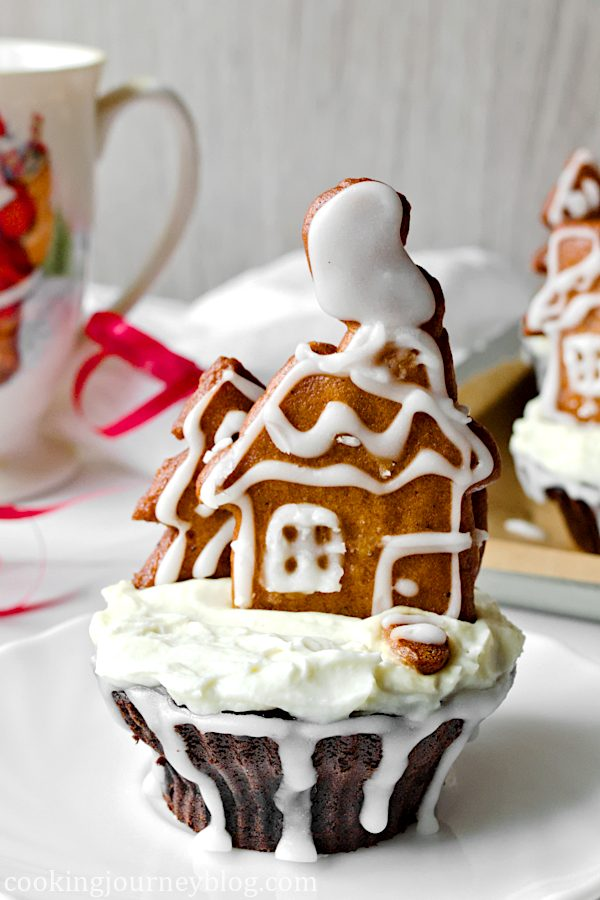 Chocolate Cupcake Recipe - Gingerbread cupcake on a plate with Christmas decoration.