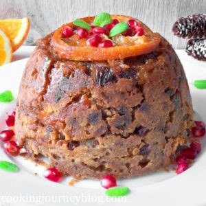 Christmas Pudding Recipe – Easy Fruit Cake, decorated with orange, pomegranate and mint