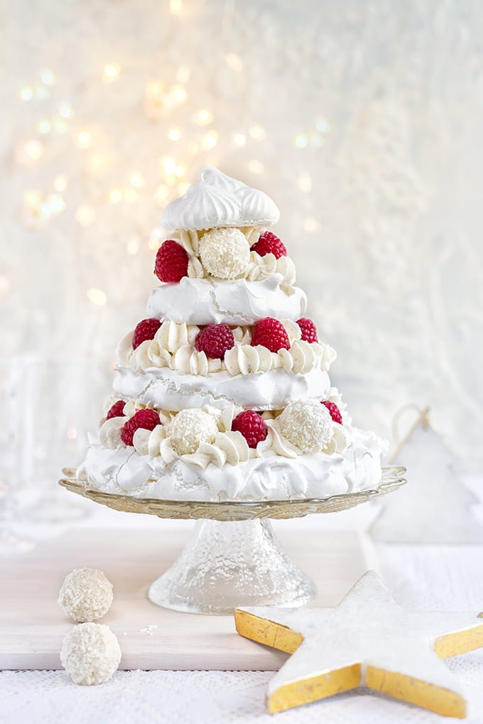 Meringue Christmas Tree With Whipped Coconut Cream and Mulled Port Drizzle