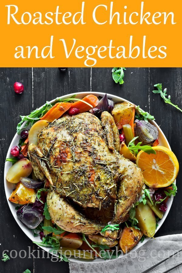 Oven roasted chicken and vegetables is an easy and delicious holiday dinner idea. Orange lemon herb chicken, baked with root vegetables. #easydinnerrecipes #christmasrecipes #wholechicken