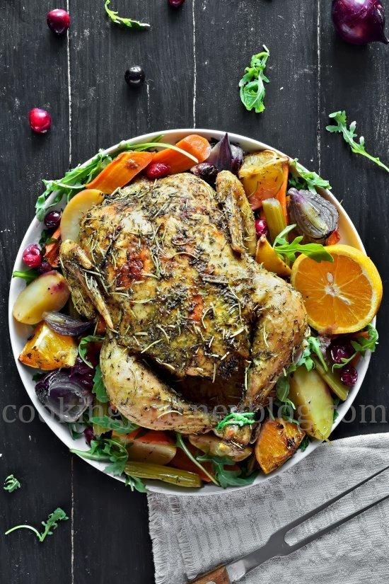 Roasted Chicken and Vegetables, view from top