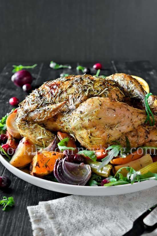 Roasted Chicken and Vegetables. Trussed chicken, placed on a plate with root vegetables and arugula