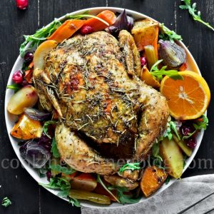Roasted Chicken and Vegetables with lemon, orange and herbs