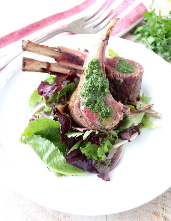 Herb Butter Roasted Rack of Lamb with Mint Chimichurri
