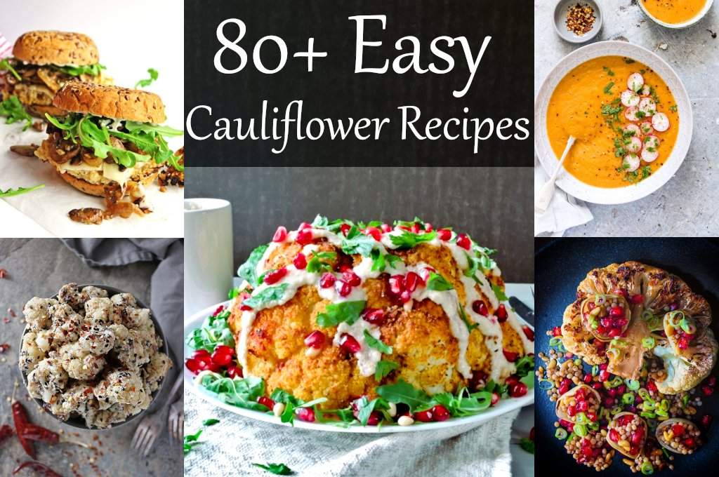 80+ Easy Cauliflower Recipes that are also healthy. Mashed, riced, roasted, whole or in salad - cauliflower is amazing vegetable. Best delicious cauliflower recipes for different diets (vegan, vegetarian, low carb, keto, paleo).