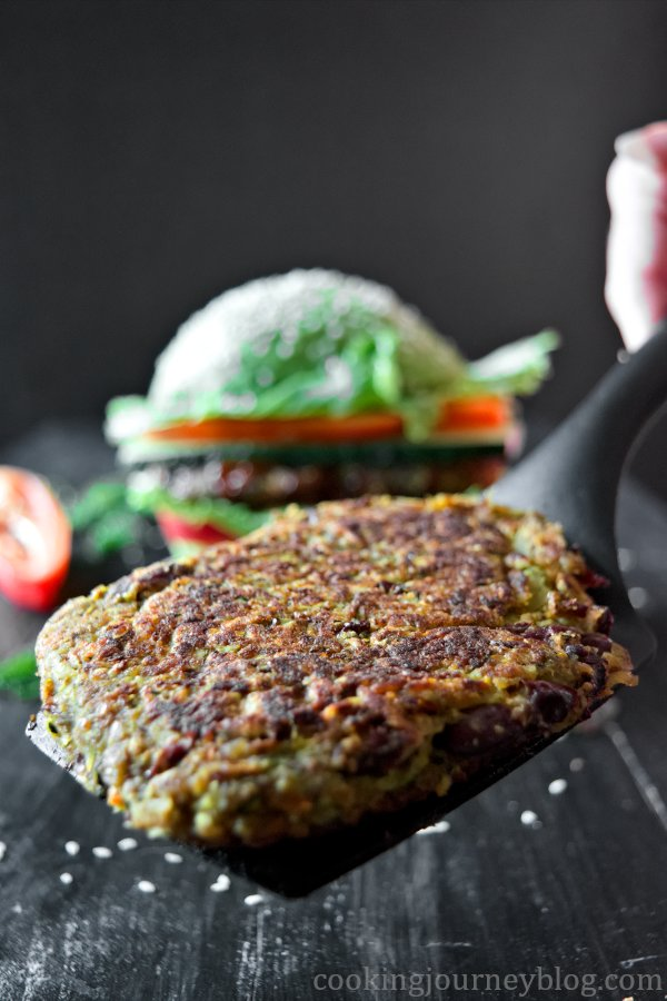 Vegan pattie for avocado burger. It is packed with vegetables and flavor.
