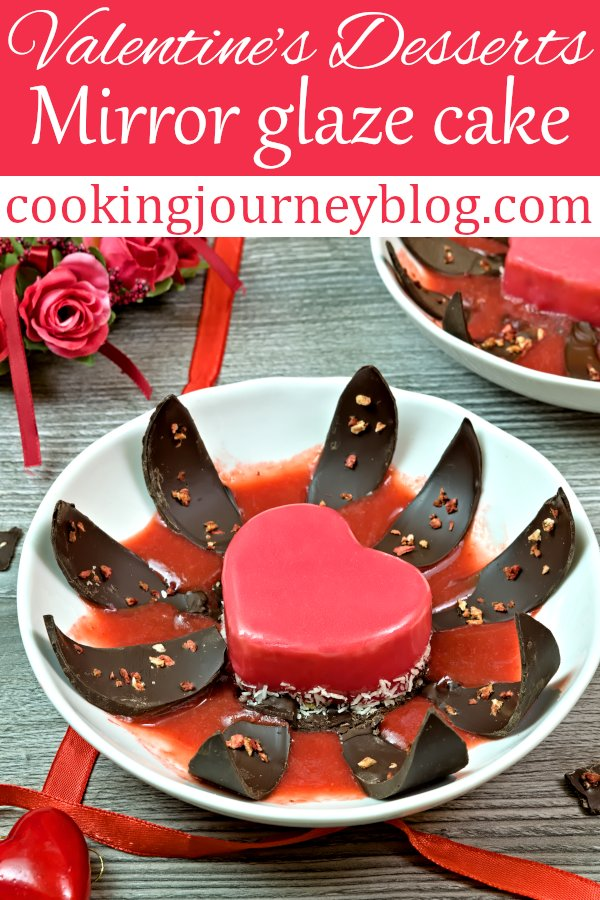 Ultimate Valentine's desserts to wow your sweetheart! Red mirror glaze cake, made with white chocolate mousse and strawberries. Great idea for Valentine's day gifts for him! #valentinesday #desserts #mirrorglaze #dessertrecipes #dessertideas #chocolatecake #strawberryrecipes