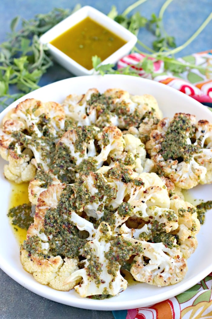 Roasted Cauliflower Steaks with Chimichurri