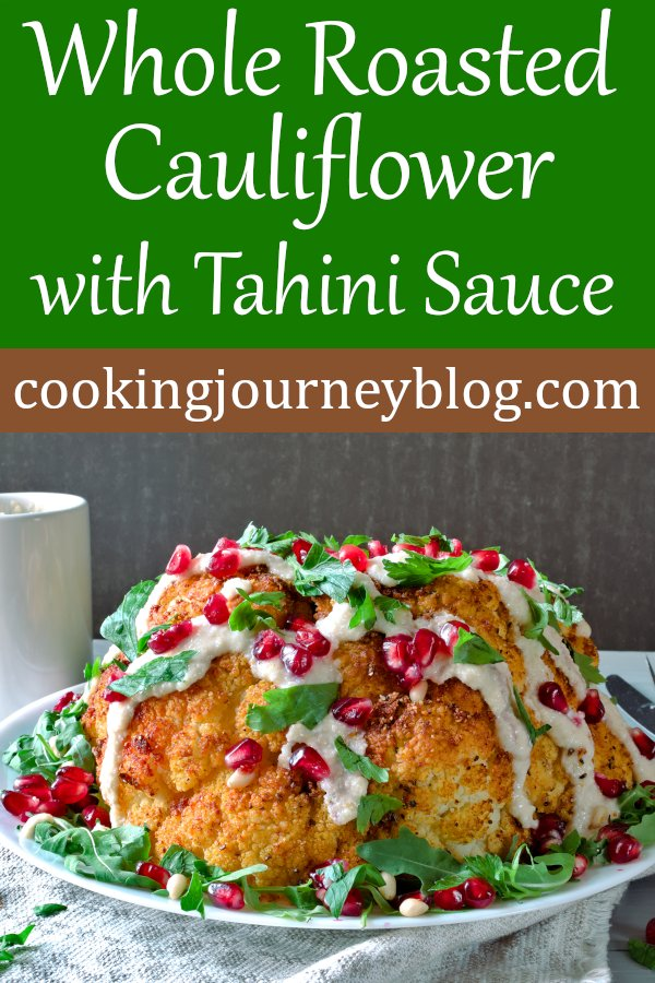 Whole roasted cauliflower with tahini sauce is great for serving as main vegan dinner. Such an easy gluten-free recipe, but full of flavor. #cauliflowerrecipes #cauliflower #veganrecipes #easyrecipe