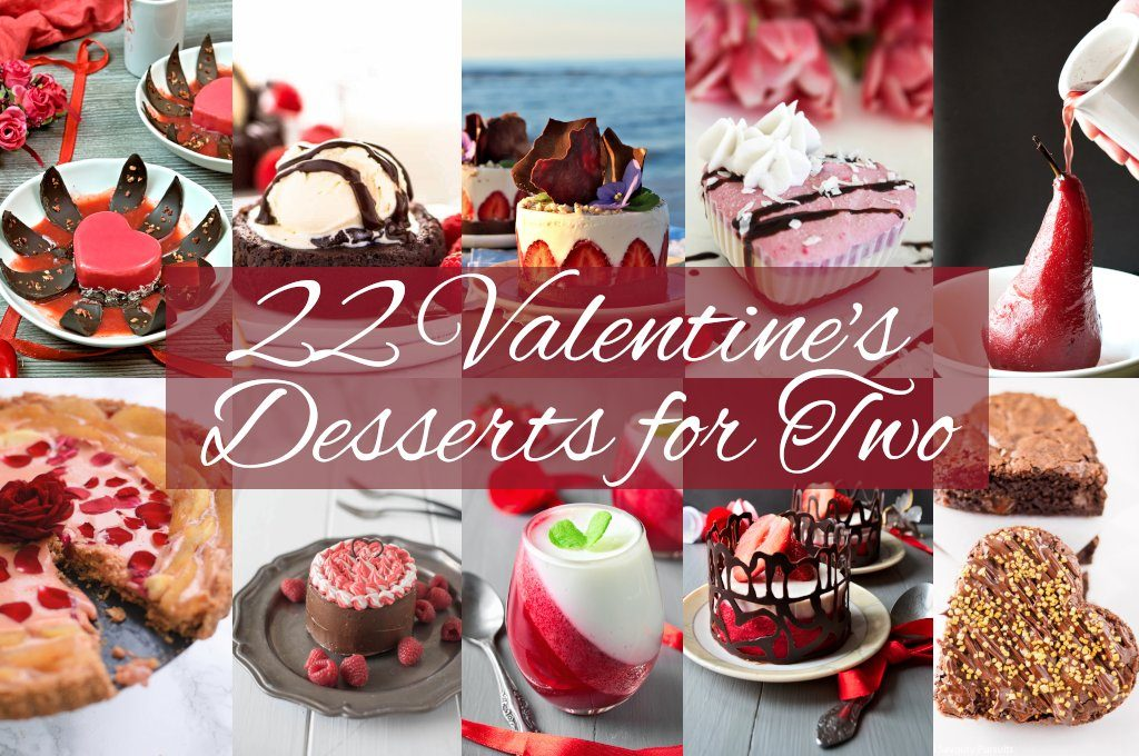 22 Valentine's desserts for two for the perfect ending of romantic dinner or creating food gift to special person. Here you will find no bake desserts, heart shaped pies and cakes, chocolate desserts, as well as treats for gluten-free, vegan diets and healthy lifestyle. Best Valentine's dessert recipes for two in one post!