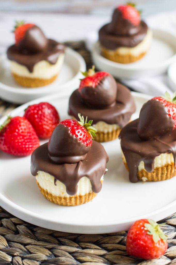 Chocolate covered strawberry cheesecakes