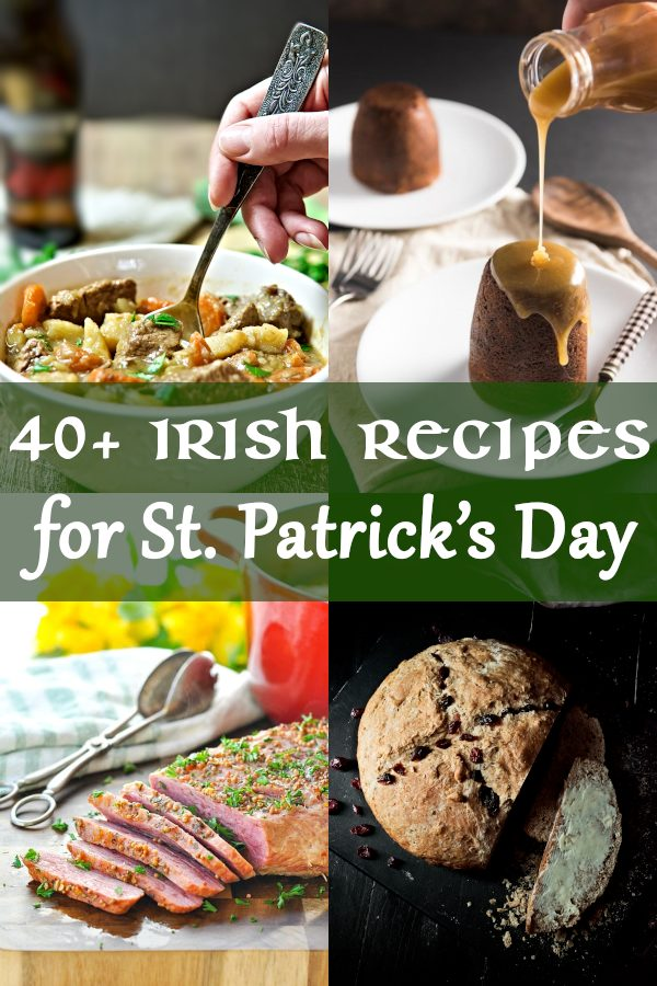 40+ Irish Recipes for St. Patrick's Day. Traditional Irish recipes are easy and flavorful. You will find Irish appetizers, desserts and bread, main dishes such as corned beef and stew, as well as side dishes with potato.