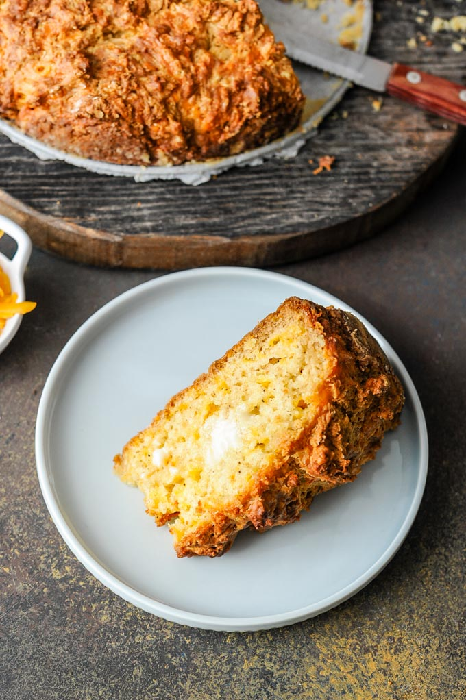 Cheddar Soda bread served with extra cheese and butter