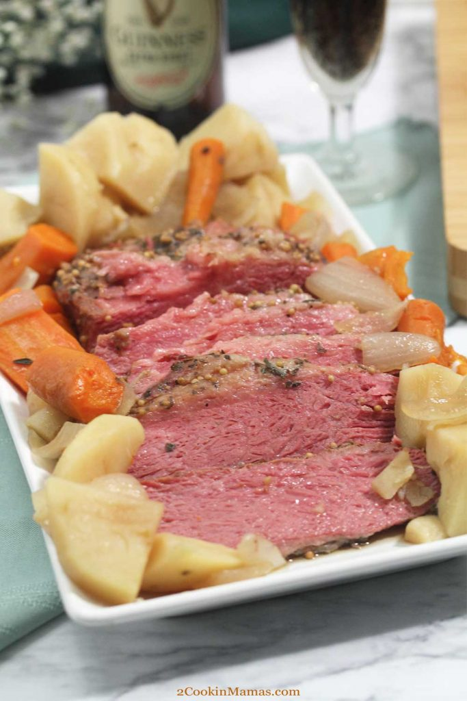 Easy Instant Pot Corned Beef with Beer, plated