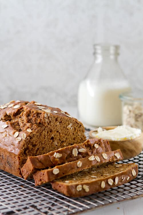 Guinness bread served with milk