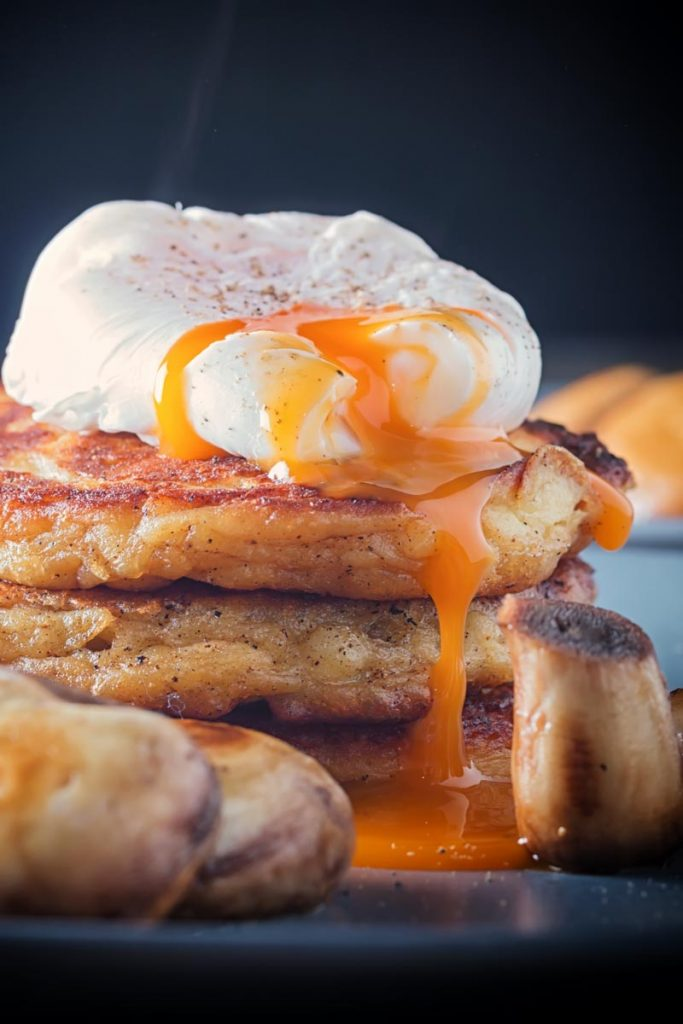 Irish Boxty with poached egg