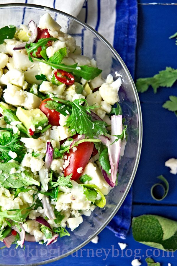 Mediterranean Cauliflower salad, view from top
