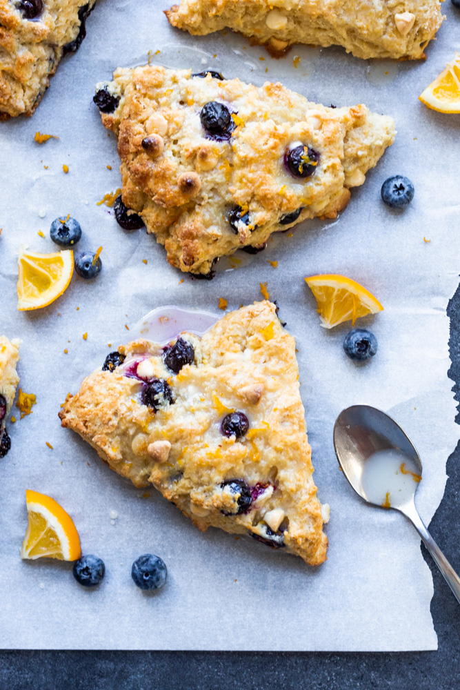 Blueberry White Chocolate Scones with Lemon Glaze