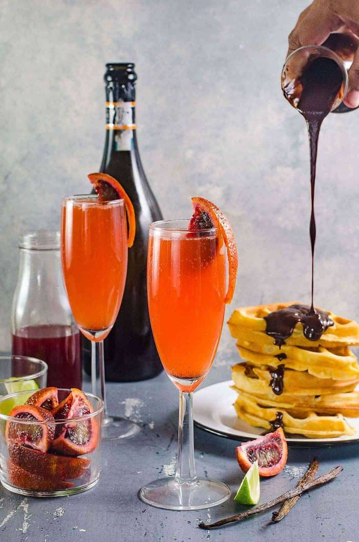 Gin and Blood Orange Mimosa served with waffles