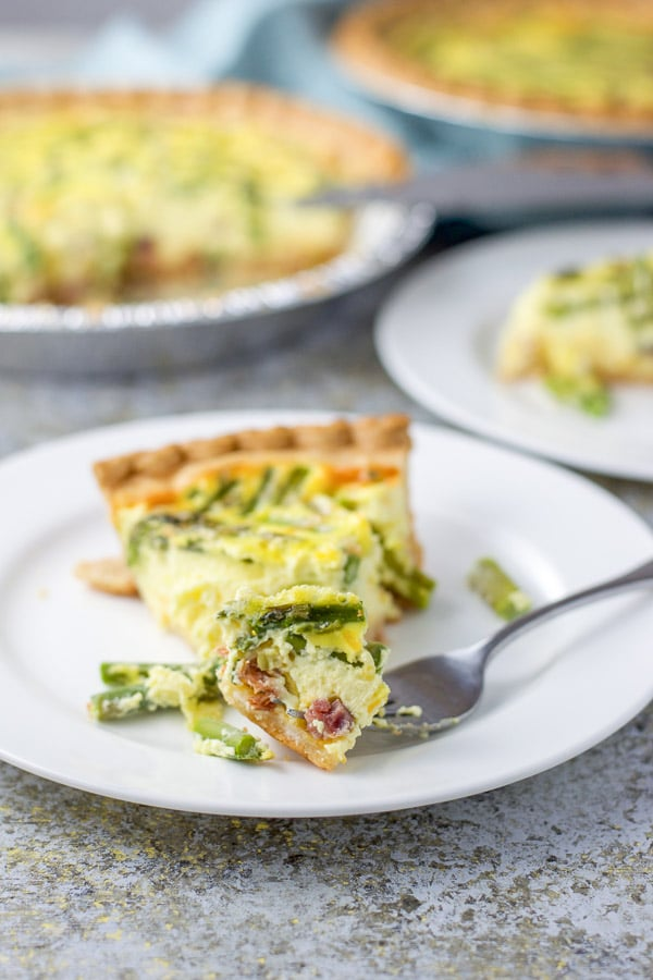 HAM AND ASPARAGUS QUICHE on a plate