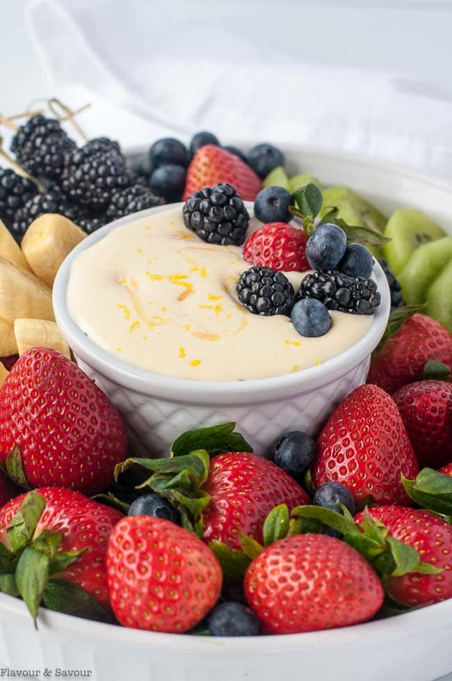 Lemon Curd Fruit Dip with berries