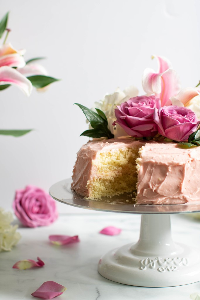 Lemon + Strawberry Layer Spring Cake with roses