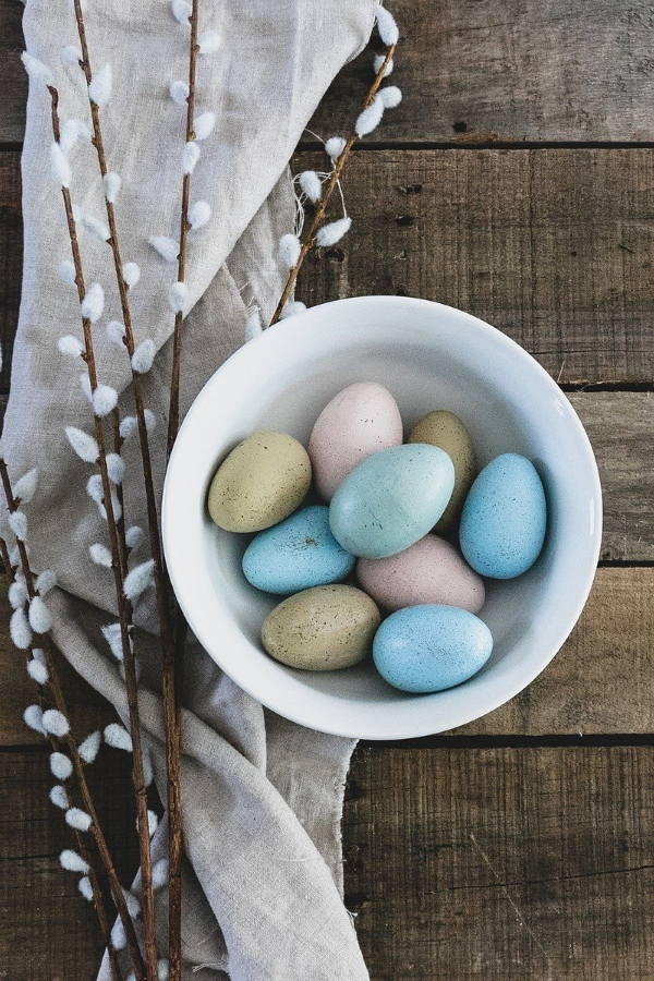 willow and colored eggs
